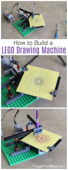 a Design Drawing Machine with LEGO Bricks Build a LEGO Design Drawing Machine - Similar to a Spirograph, this draws awesome patterns!Build a LEGO Design Drawing Machine - Similar to a Spirograph, this draws awesome patterns! Stem Projects, Projects For Kids, Crafts For Kids, Art Projects, Lego Club, Lego Design, Lego For Kids, Science For Kids, Kids Fun