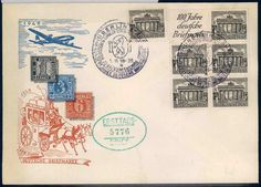 100 year anniversary of the stamp. Bookletpane with 5x 1Pf Bauten (buildings) on First Day Cover 1.11.1949.