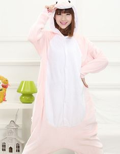 4cad67fa26 Pink Guangu Dinosaur Fleece Animal Kigurumi One-Piece Pajamas Costume .