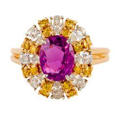 OSCAR HEYMAN Sapphire & Diamond Ring