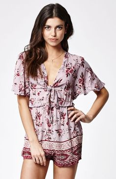 4662f7bfcd0 Tie Front Short Sleeve Romper  PacSun Fashionable Outfits