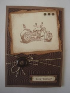 Motorcyle Happy Birthday by stamping chick - Cards and Paper Crafts at Splitcoaststampers Origami, Bicycle Cards, Happy Birthday Photos, Fathers Day Cards, Greeting Cards, Men's Cards, Masculine Cards, Cute Cards, Scrapbook Cards