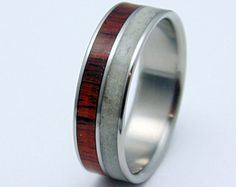Mens antler ring  hunters ring Titanium ring with Antler and Rosewood inlay,  Wood ring