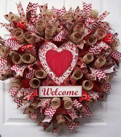Valentine Welcome Burlap Mesh Wreath,Valentine's Day Wreath,Welcome Wreath,Valentine's Gift,Happy Valentine's Welcome Wreath by CherylsCrafts1 on Etsy