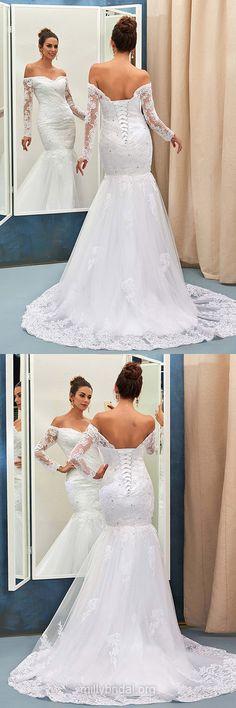 Long Sleeve Wedding Dresses Lace, 2018 Wedding Dresses Mermaid, Vintage Wedding Dresses Modest