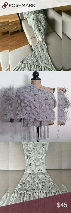 Knitted Scale & Tassels Mermaid Blanket Beautiful knit personal blanket and shawl. Light weight, perfect for home, travel or the office. Silvery gray hue and fringe give this popular and trendy style of blanket a sophisticated, grown up look that enhances your wardrobe and home decor.  Measures 180L * 90W CM Accessories