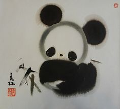 Panda by Han Meilin Happy Panda, Panda Love, Love Bear, Masterpiece Theater, Cartoon Panda, Artwork Images, Chinese Painting, Staging, Art Museum