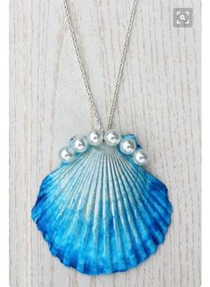 Painted shell necklace with pearls added