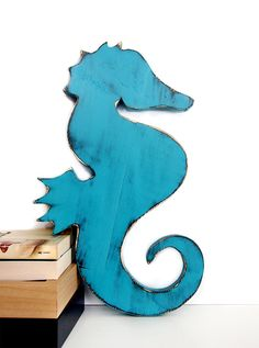 Seahorse Pictured in Teal Pine Wood Sign Wall Decor by ThePineNuts, $28.00
