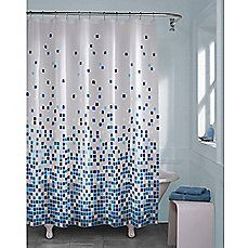 image of Matrix Geo Shower Curtain in Blue