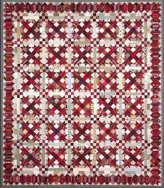 Talkin' Turkey quilt in red and white by Bonnie Hunter at Quiltville (turkey tracks design)