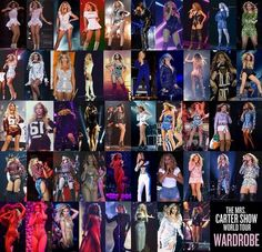 Mrs Carter Show World Tour Wardrobe  48 Amazing Outfits 132 Shows  April 15 2013  -  March 27  2014