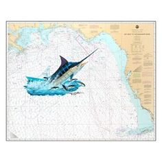 Steve Whitlock Nautical Chart Art - Gulf Marlin
