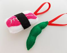 Felt Sushi Christmas Ornaments  Pink Ebi Shrimp by DanielleLondon