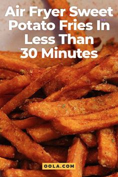 Yummy Air Fryer Sweet Potato Fries In Less Than 30 Minutes - Air Fryer Recipes - Fast Food Air Fryer Recipes Breakfast, Air Fryer Oven Recipes, Air Fryer Dinner Recipes, Air Fryer Recipes Potatoes, Air Fryer Sweet Potato Fries, Easy Sweet Potato Fries, Air Fryer Fries, Air Fryer Potato Chips, Air Fryer French Fries