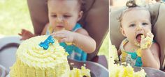 yellow and blue cute as a button first birthday party smash cake