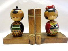 Kokeshi Doll Male Female Bookends Bobblehead by sweetie2sweetie, $52.99