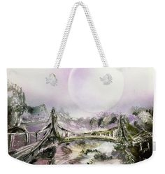 Bridge Of Spirits Weekender Tote Bag Printed with Fine Art spray painting image Bridge Of Spirits Nandor Molnar (When you visit the Shop, change the size, background color and image size as you wish)