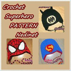 Superhero hats crochet patterns.