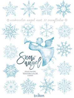 Watercolor Snowflakes Clipart Angel Christmas by ReachDreams