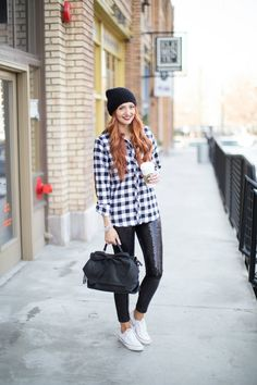 Wondering how to wear those sequin leggings you bought over the holidays? Try this casual look! | www.LittleJStyle.com