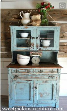 I have a hutch like this. I prefer this color to the color of blue on… painting on furniture awesome {Antique Hutch} – super distressed! Primitive Furniture, Farmhouse Furniture, Shabby Chic Furniture, Rustic Furniture, Vintage Furniture, Painted Furniture, Home Furniture, Furniture Ideas, Modern Furniture
