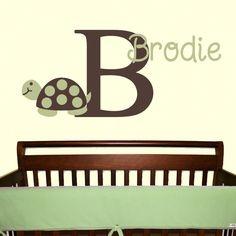 Mod Turtle Wall Decal Monogram Name Vinyl Sticker Nursery Child Baby Decor