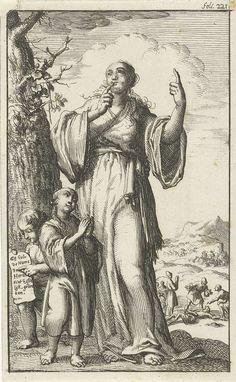 Jan Luyken   Vrouw drukt een wijsvinger op haar lippen en wijst naar de lucht, Jan Luyken, Jan Bouman, 1685   Prent rechtsboven gemerkt: foli. 221.