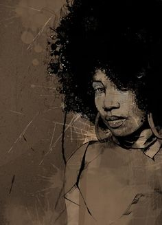 Artist: Russ Mills, mixed media {contemporary figurative #expressionist art african-american black woman #naturalhair afro décolletage face portrait art grunge painting #loveart} <3 Soul !!