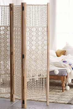 Magical Thinking Tabitha Macrame Foldable Screen - Urban Outfitters bohemian interiors