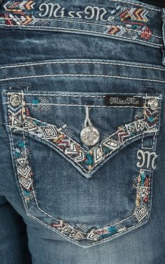 Miss Me Women's Medium Wash with Chevron Embroidery Open Pocket with Flap Signature Boot Jeans | Cavender's