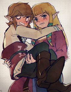 "legendofzelda-secretsanta: "" I was requested to draw something zelink related. Well… I'm not a very romantic person and… uh… uh… I tried my best ;w;.. buhuhu. Sorry if this isn't what you expected ;w;…! Hope you have an amazing Christmas! """
