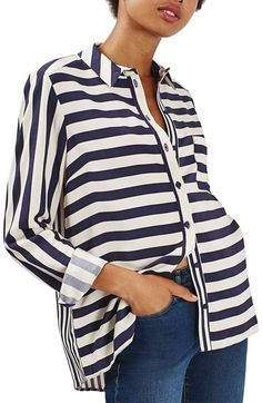 Topshop Stripe Shirt available at #Nordstrom