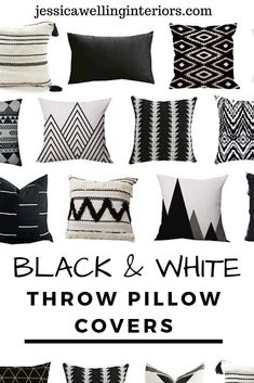 Cheap throw pillow covers are an easy and inexpensive way to change up your living room decor. These stylish throw pillows are colorful, modern, and Boho. Black And White Pillows, Black Throw Pillows, White Throws, Modern Throw Pillows, Black White, Black And White Living Room Ideas, Color Black, Boho Pillows, Decorative Throw Pillows