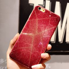 Luxury Red Reticular Shining Bling Glitter Girl Phone Cases for iPhone 7 7Plus 6 6s Plus Soft TPU Back Case Cover