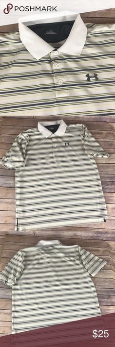Men's Under Armour Striped Golf Polo This large golf polo is in great condition.  93% polyester and 7% elastase. Under Armour Shirts Polos