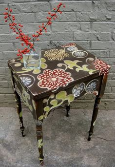 Beautifully painted furniture. Save money & upcycle old pieces of furniture by painting them. Be daring and paint fun designs and patterns to show your individual tastes.