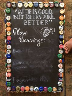 Father's Day gift, beer bottle cap craft chalkboard homemade