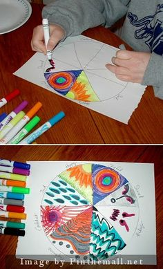 "Emotions Color Wheel - Description:  This activity is good to break the ice with any client. It is also an easy ""check-in"" to find out how the client is feeling and the issues he/she is dealing with at this time in his/her life. After creating a pie chart with 8 sections, the client gets to choose 8 emotions and then color in the pie pieces."
