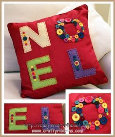 I'll probably convert to crochet. - could have Tunisian crochet base and felt/button applique Christmas Makes, Noel Christmas, Homemade Christmas, Christmas Stockings, Christmas Ornaments, Christmas Applique, Christmas Pillow, Christmas Cushions To Make, Christmas Sewing Projects