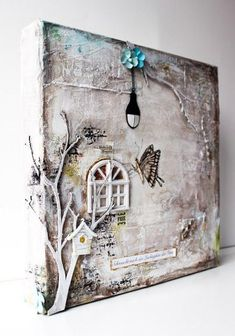 Mixed media canvas from scrapmanufaktur.b… Mixed media canvas from scrapmanufaktur. Mixed Media Collage, Mixed Media Canvas, Collage Art, Paper Collages, Altered Canvas, Altered Art, Art Altéré, Photo Halloween, Ouvrages D'art