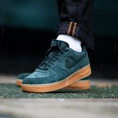 Dark green suede AF1s with gum sole! This Nike Air Force 1 Low is available now on KICKZ.com and in selected stores!