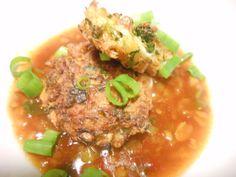 Gemüse Puffer mit scharfem Dip