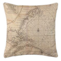 Nautical Chart Old World Throw Pillow