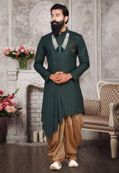 Buy Green Readymade Asymmetric Wedding Sherwani for Men Online With Dhoti Sherwani For Men Wedding, Wedding Dresses Men Indian, Mens Sherwani, Indian Wedding Wear, Wedding Dress Men, Punjabi Wedding, Indian Weddings, Wedding Outfits, Wedding Couples