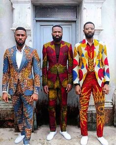 """Ankara takes a contemporary twist with Kamsi Tcharles' spring/ summer collection titled """"Czar and The Rabbi"""" . The Nigerian design label spotlights Actor Chris Okagbue and """"Gentleman"""" singer Ric H… African Fashion Ankara, Ghanaian Fashion, African Inspired Fashion, African Print Dresses, African Print Fashion, Africa Fashion, African Wear, African Attire, African Prints"""