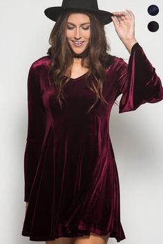 Velvet Me Up Bell Sleeves Dress - Wine - Debra's Passion Boutique - 1