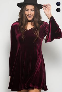 Velvet Me Up Bell Sleeves Dress - Wine - Debra's Passion Boutique - 1