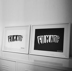 A graphic take on the cult of Film Noir, by london-based artist Dex.    A stylish limited edition graphic print in deep velvet black on stark white archival paper, for film lovers everywhere.