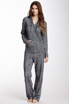 Black Cable Knit Printed Hoodie Pajama Set.. NEED THESE